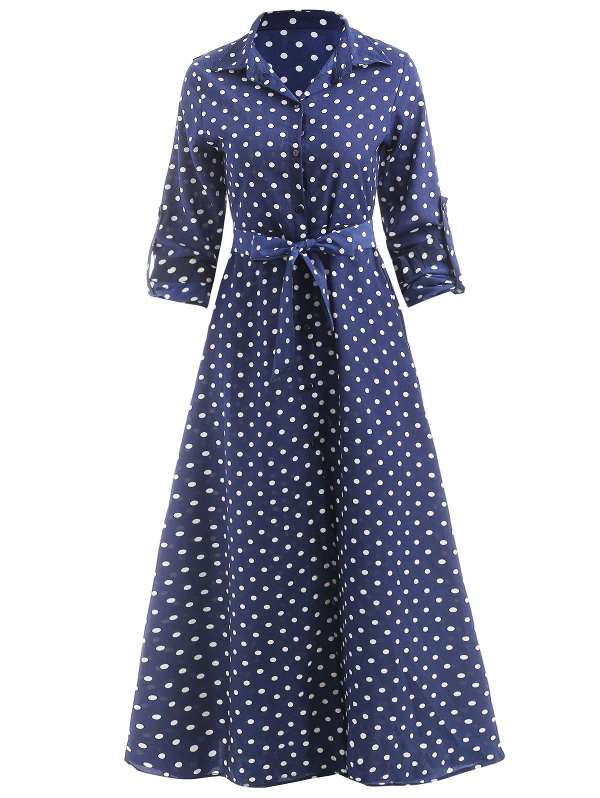 Best Polka Dot Print Maxi Shirt Dress