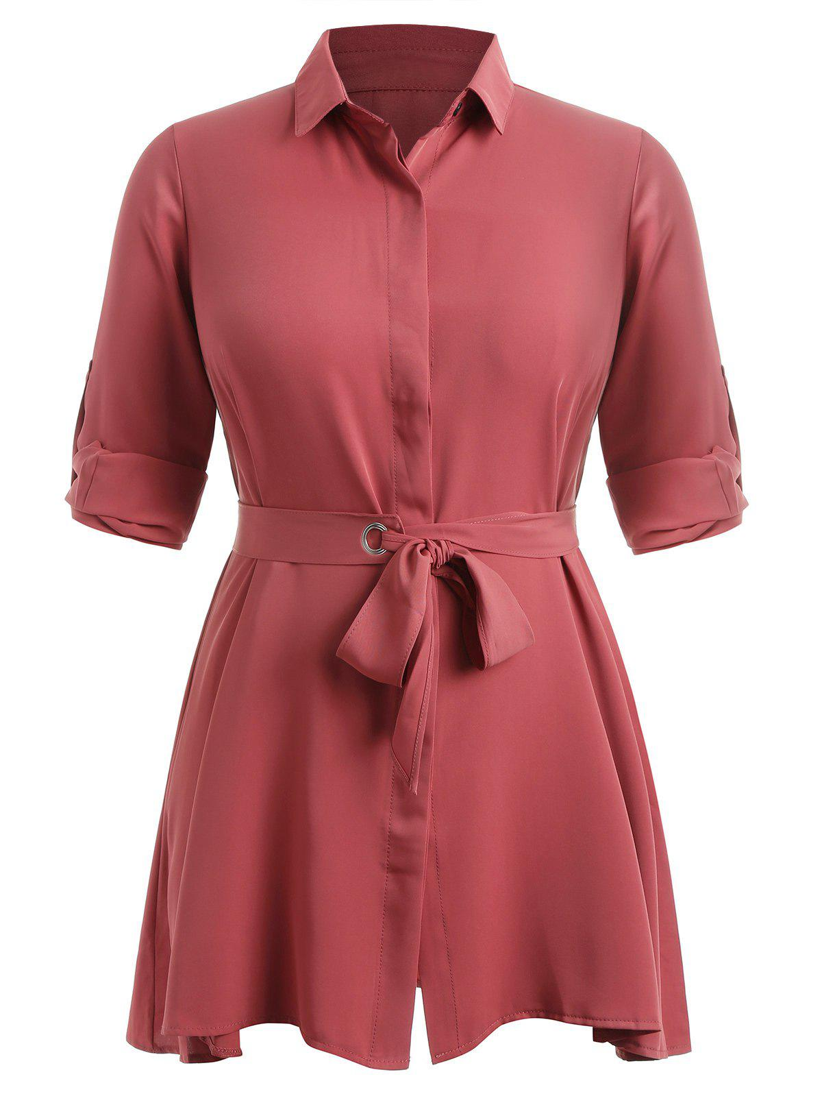 Hot Plus Size Shirt Dress with Belt