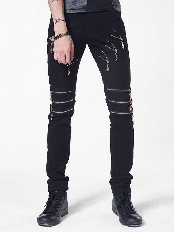 Outfit Multi Zip Embellish Straight Leg Casual Pants