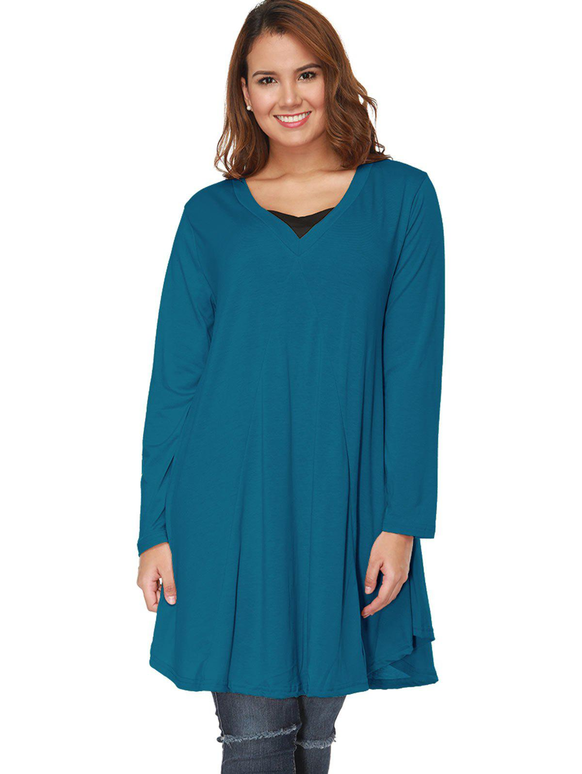 Chic Plus Size Long Sleeve A Line Tee