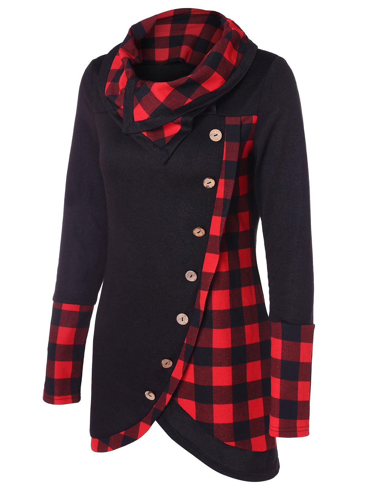 Image of Turtleneck Tartan Asymmetrical Sweatshirt