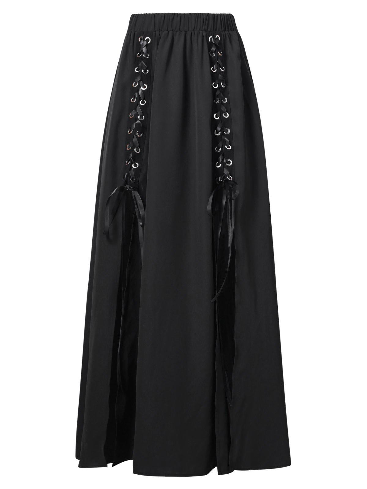 New Lace Up High Slit Maxi Skirt
