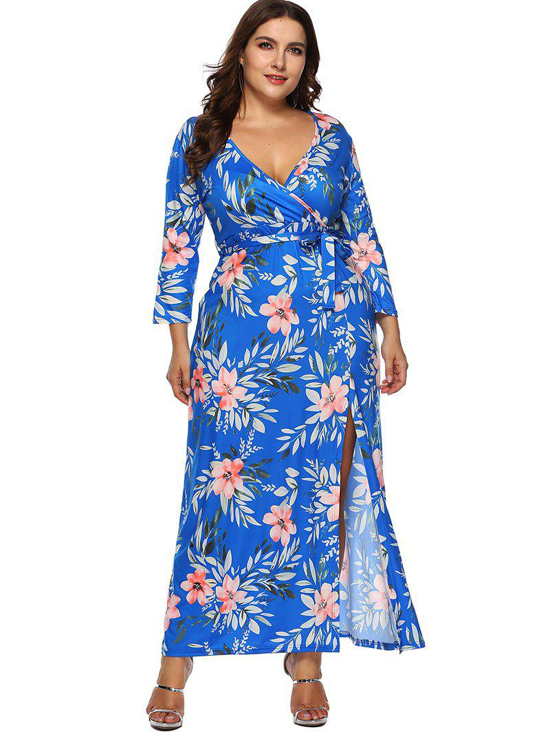 Discount Floral Plus Size Belted Slit Long Dress