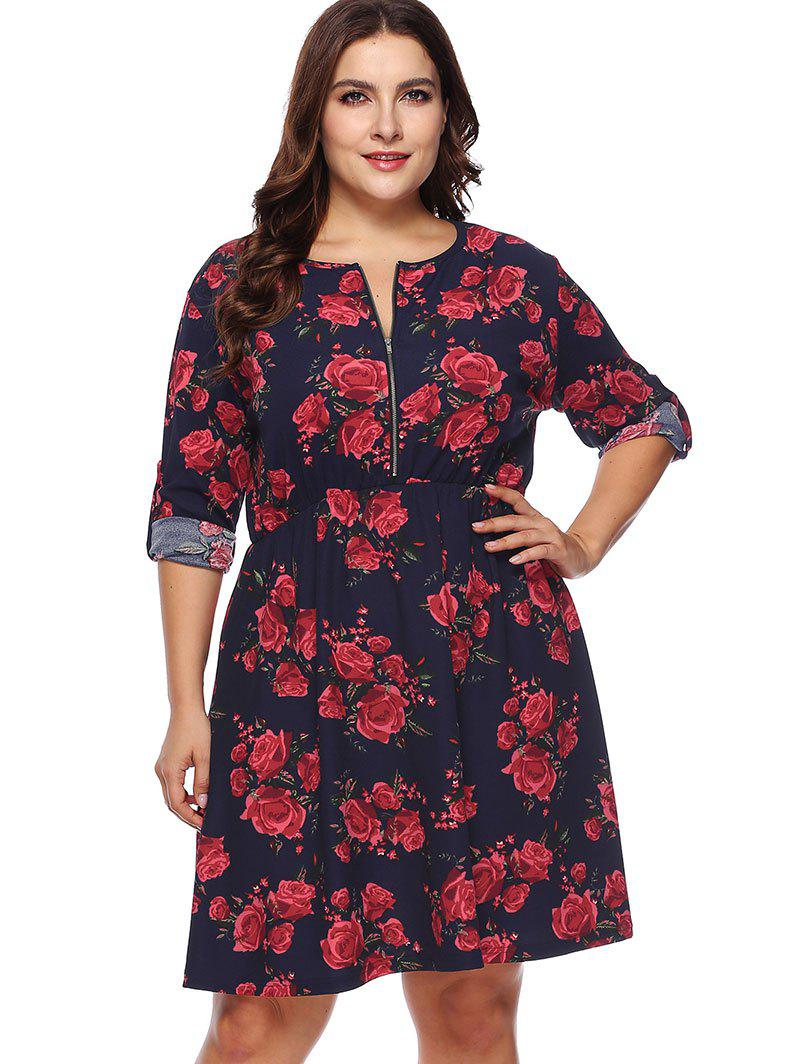 Unique Zip Plus Size Floral Long Sleeve Dress