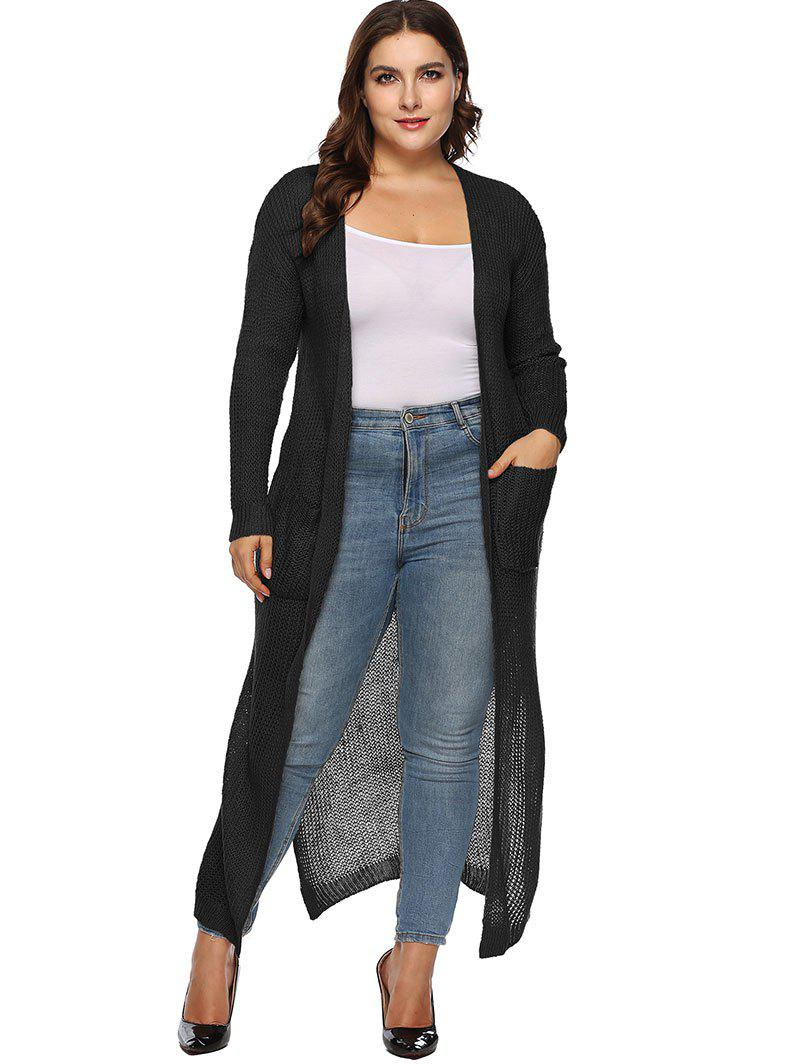 fa9c5c35e1f 31% OFF  Plus Size Slit Duster Cardigan