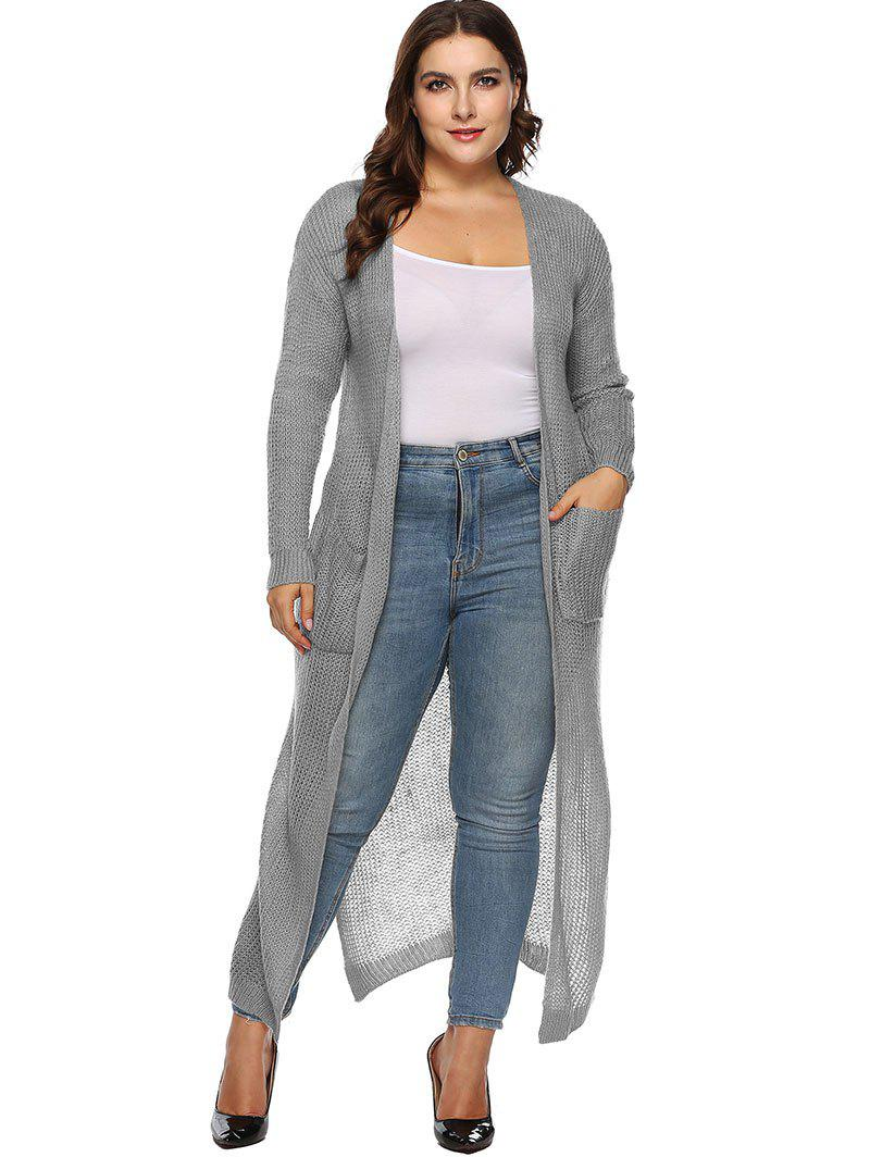b619fe2a401 43% OFF  Plus Size Slit Duster Cardigan