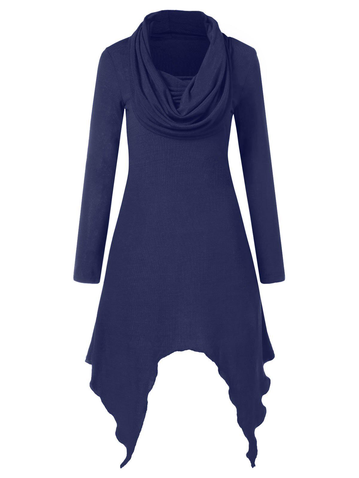 Discount Cowl Neck Full Sleeve Handkerchief Dress
