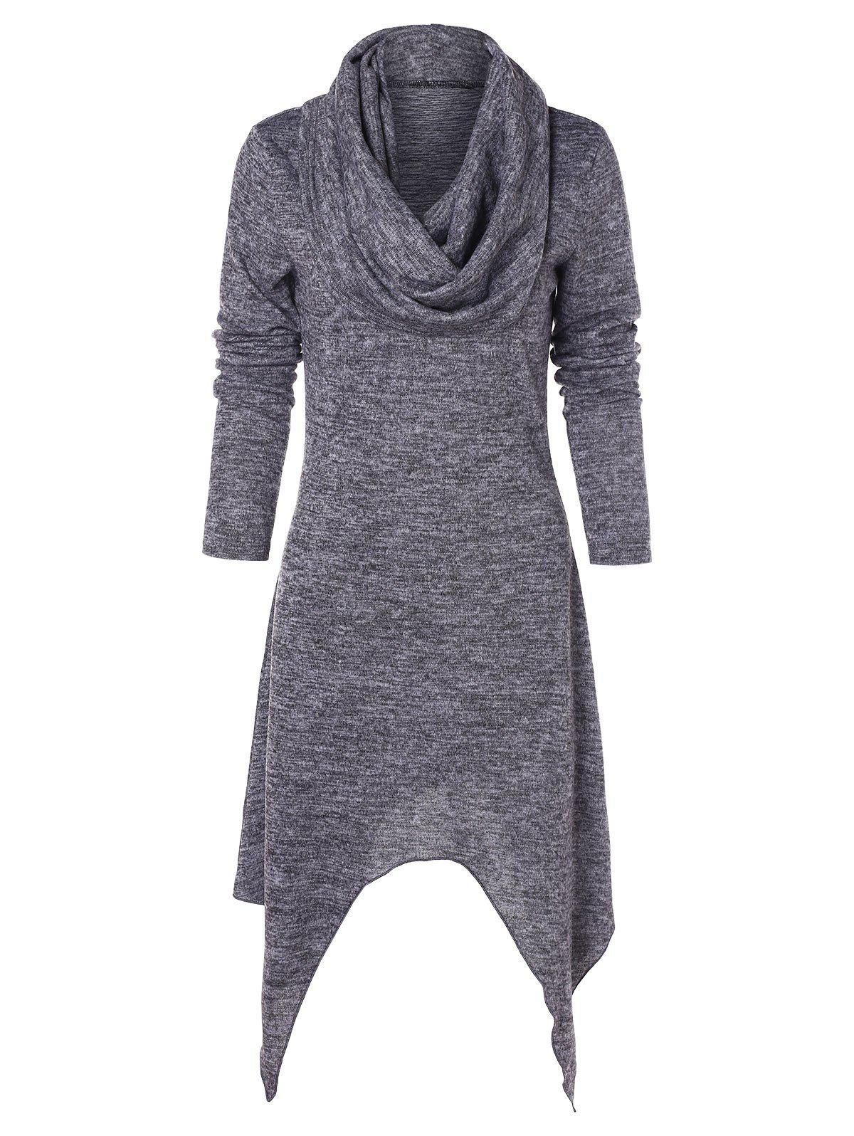 Online Cowl Neck Full Sleeve Handkerchief Dress