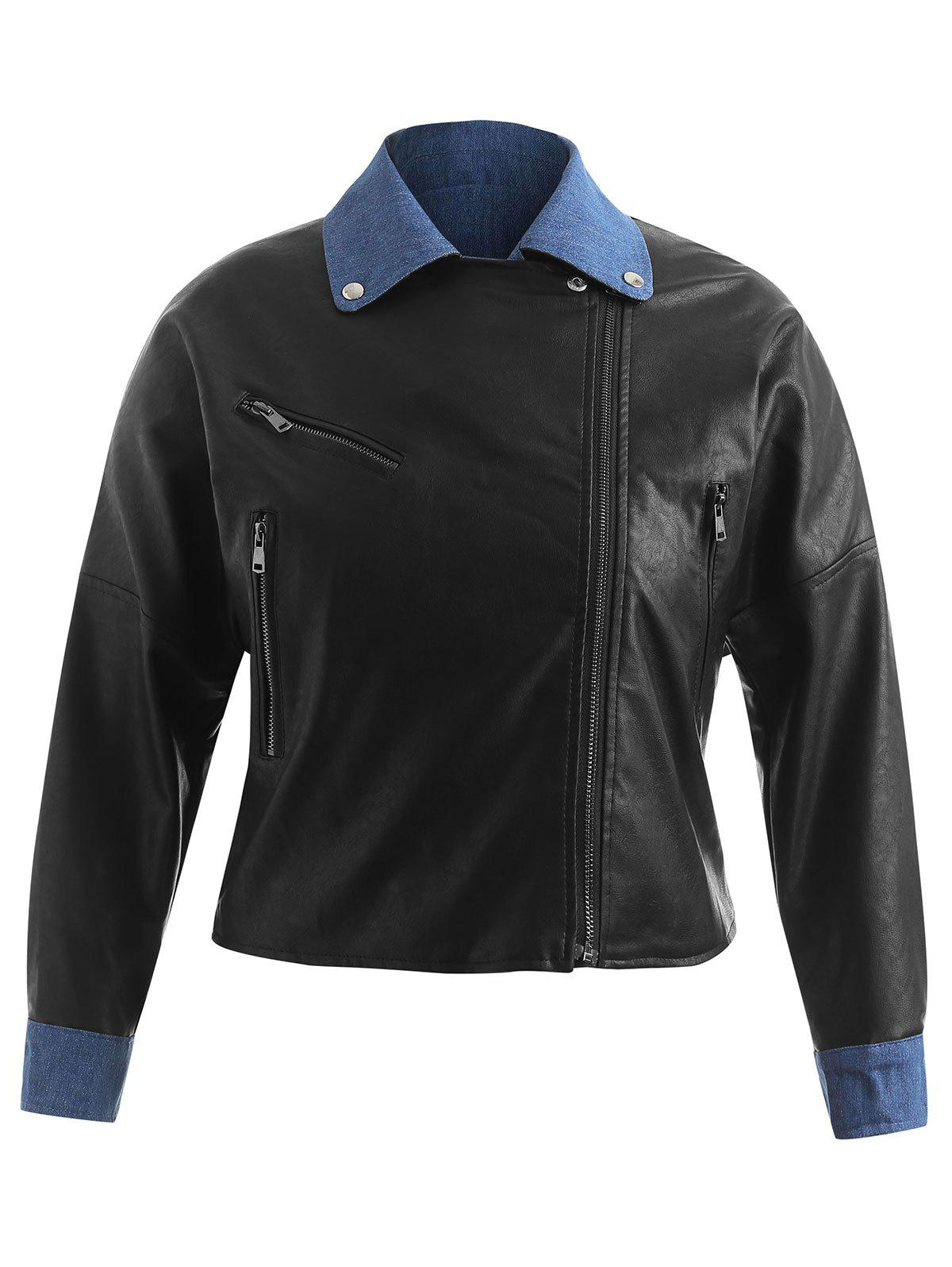 Cheap Plus Size Contrast PU Jacket with Zippers