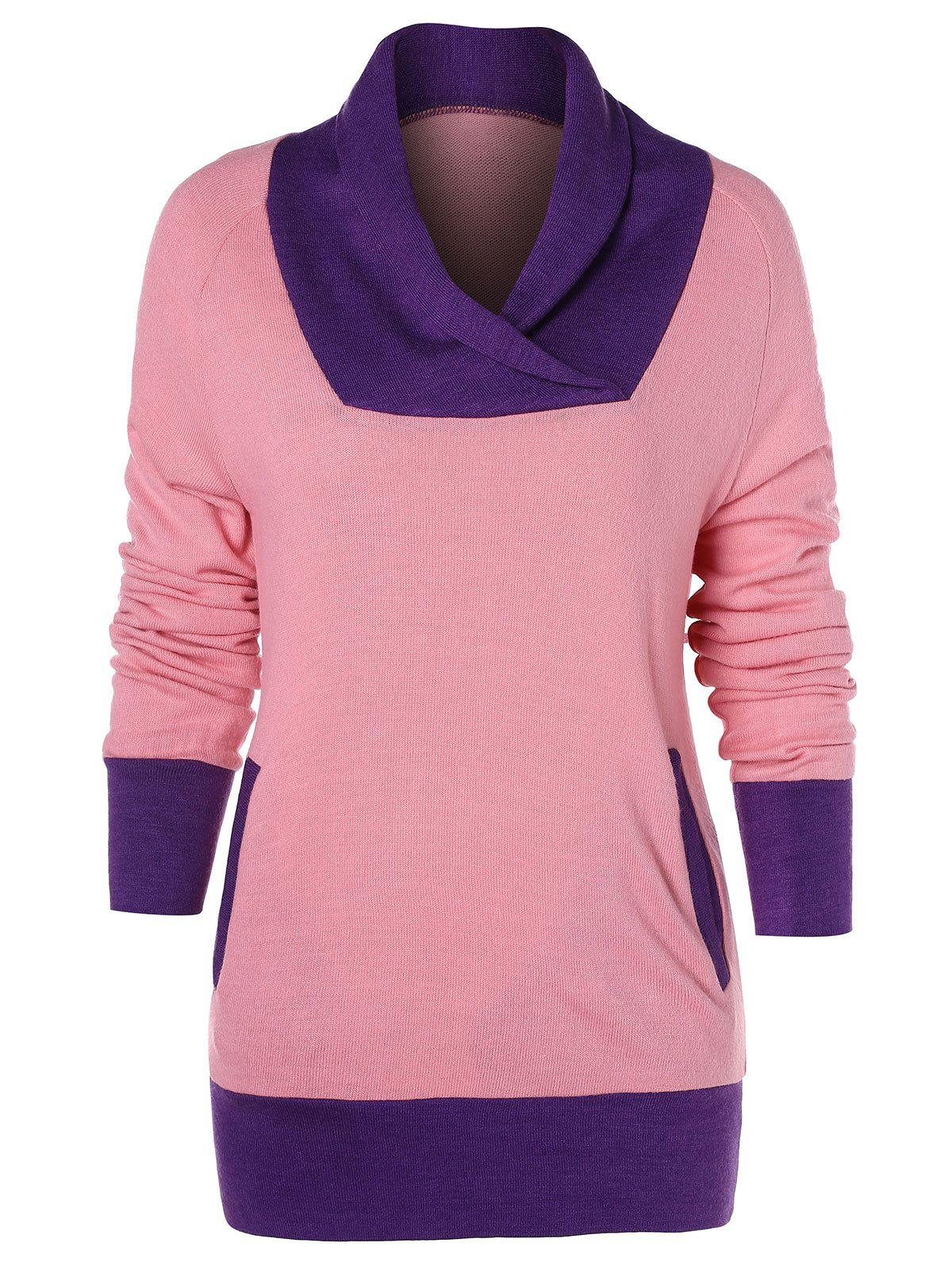 Affordable Color Trim Long Sleeve T-shirt with Pocket