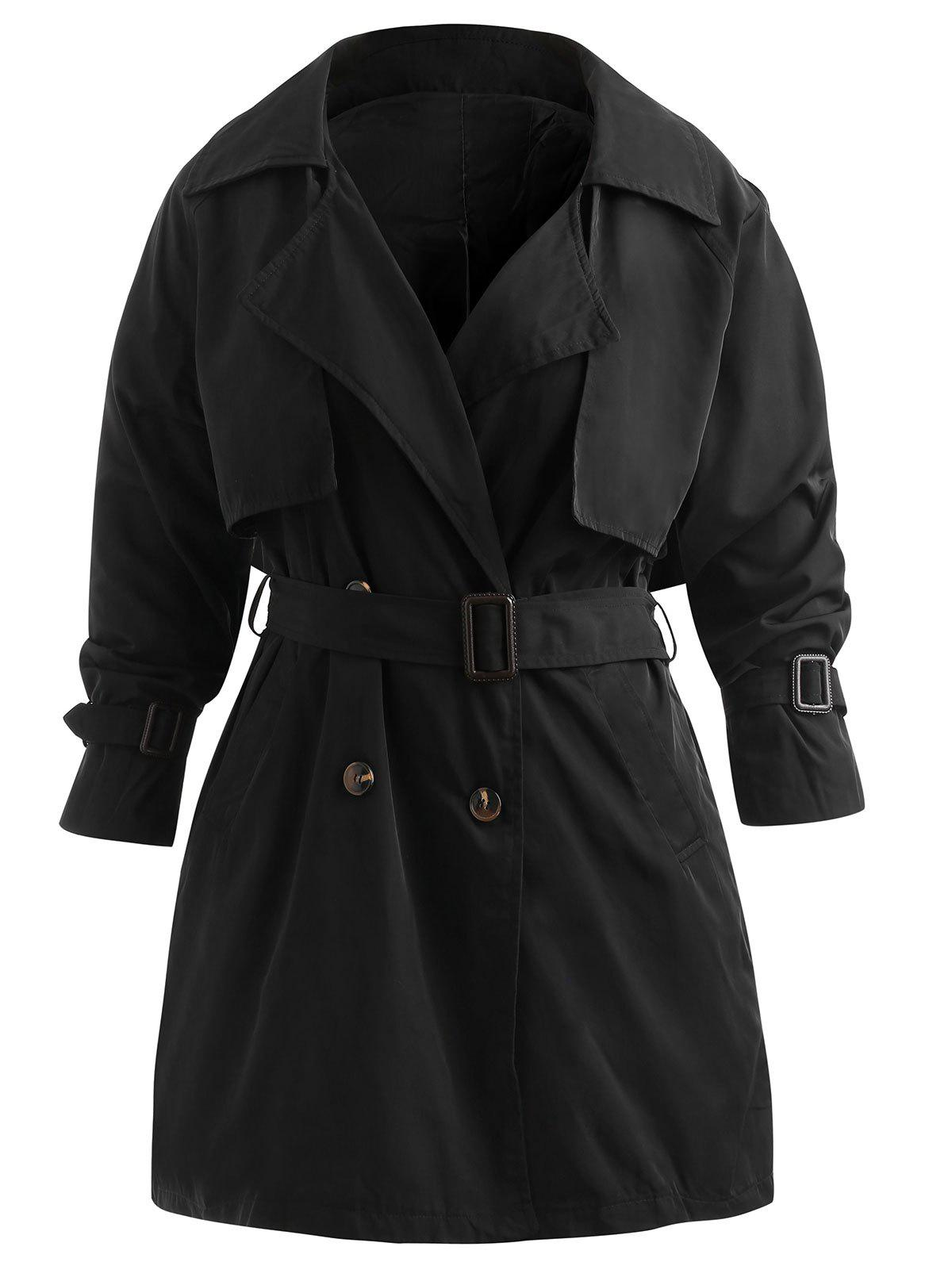 Buy Plus Size Double Breast Longline Trench Coat