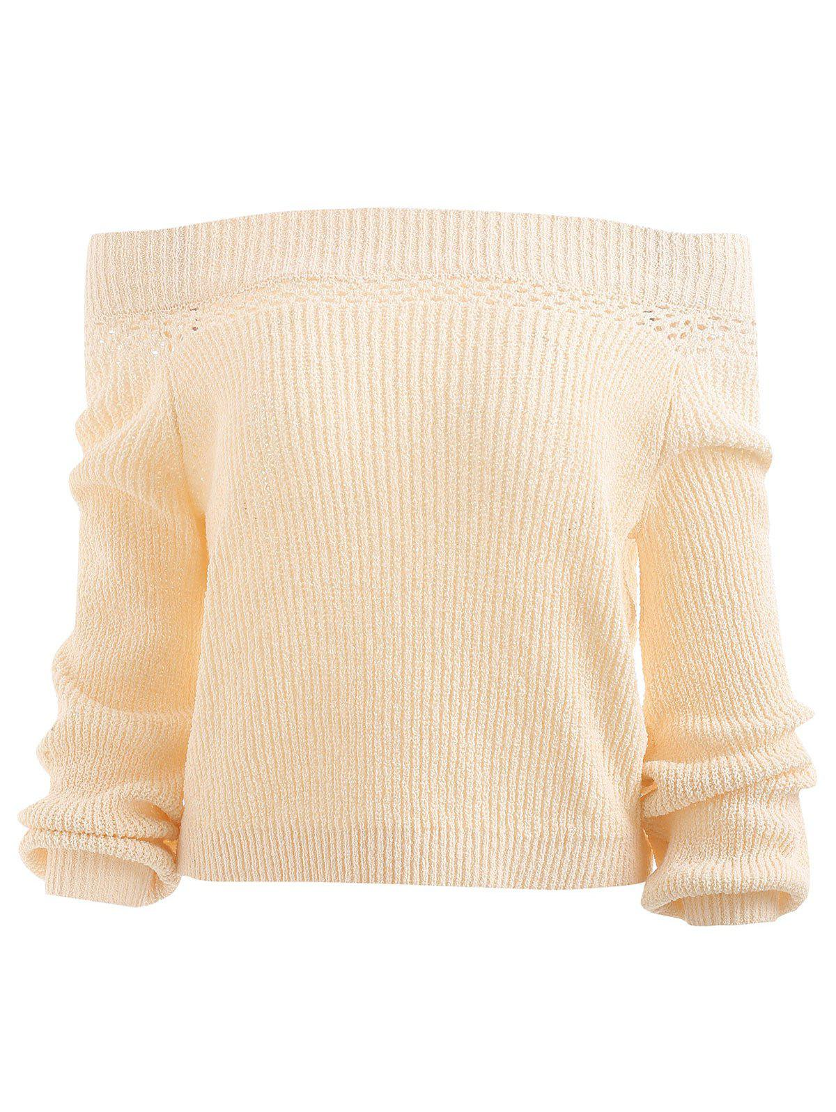 Unique Off Shoulder Hollow Out Knit Sweater