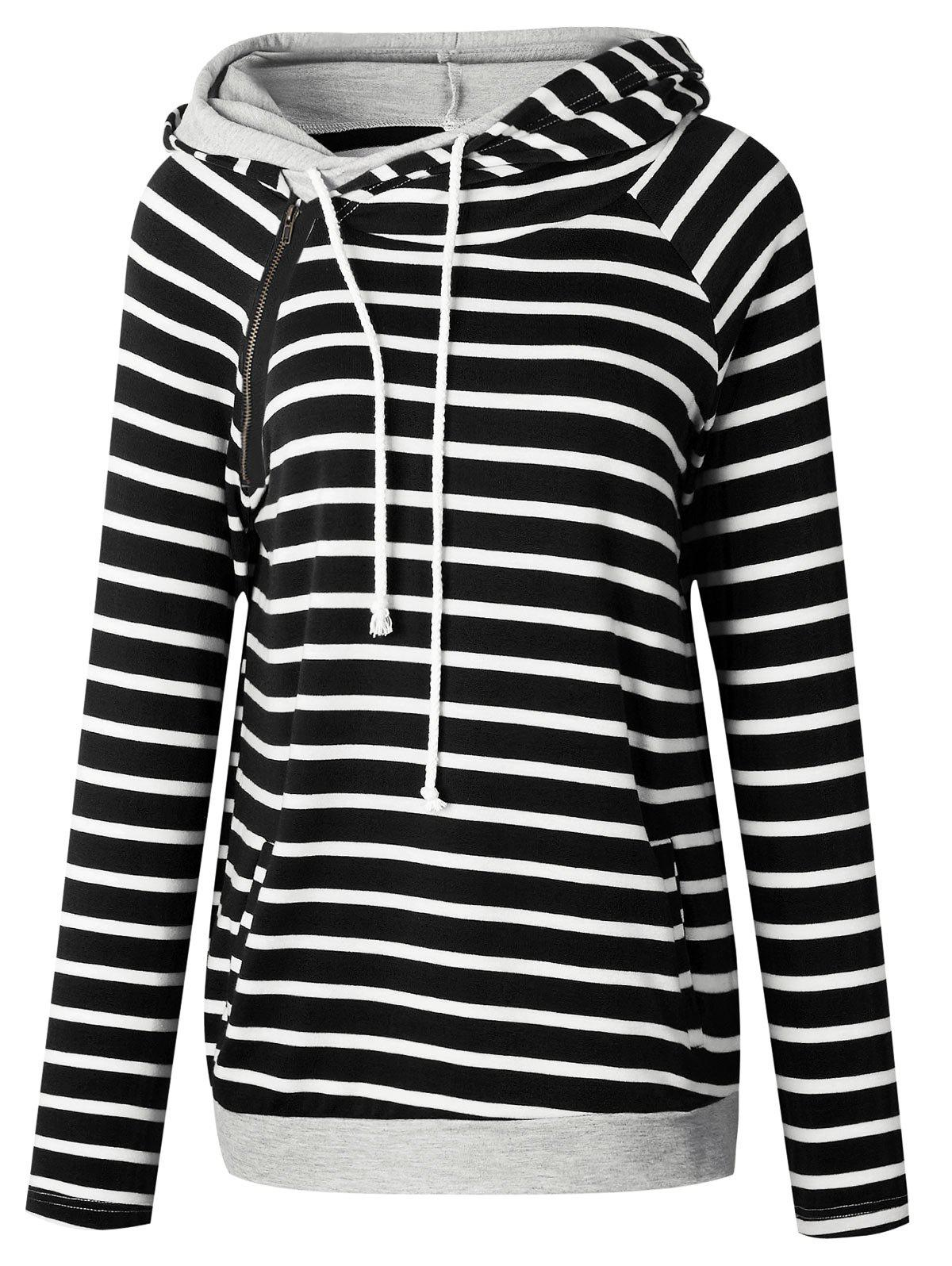 Outfit Drawstring Zippered Striped Hoodie