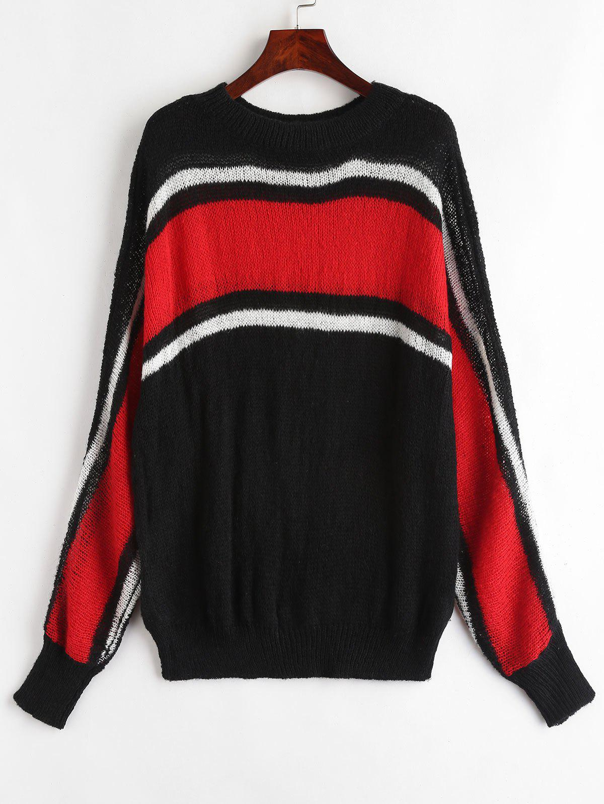 Chic Round Neck Color Block Plus Size Sweater