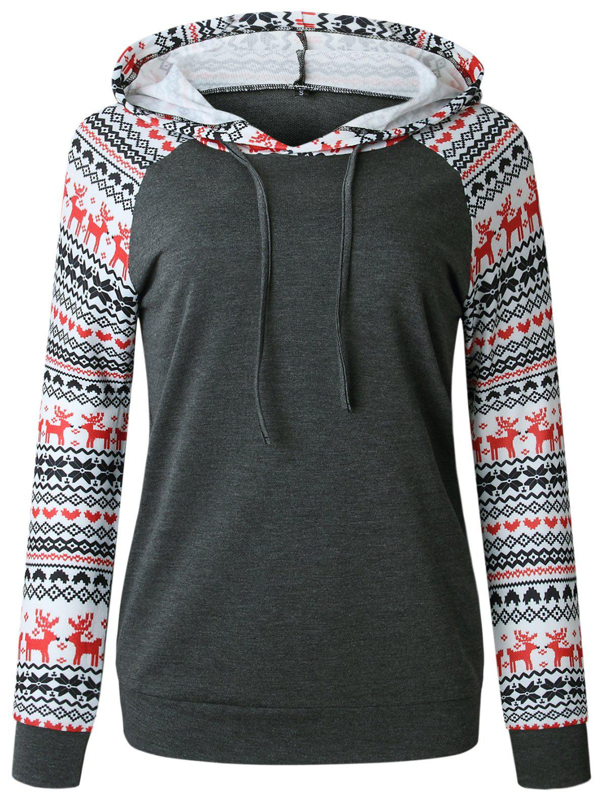 Sweat à Capuche Pull-over de Noël à Manches Raglan