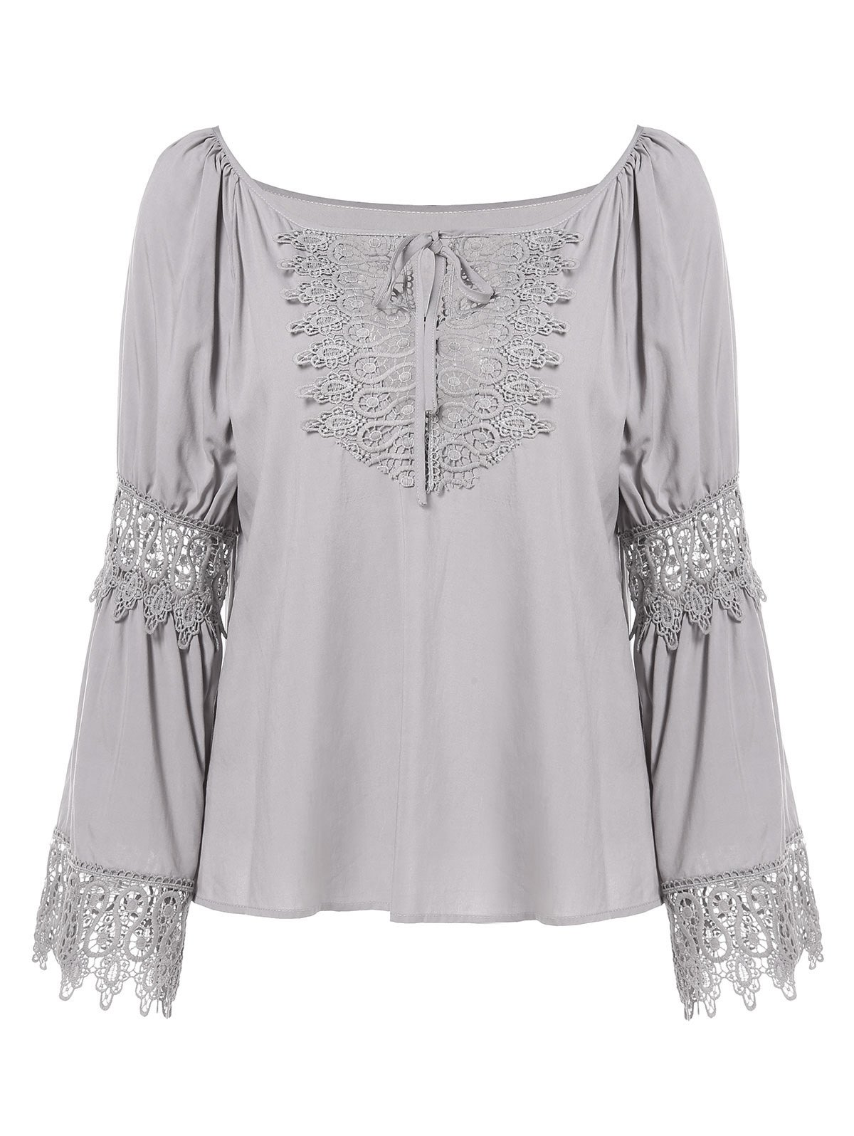 Discount Lace Panel Long Sleeve Blouse with Tie
