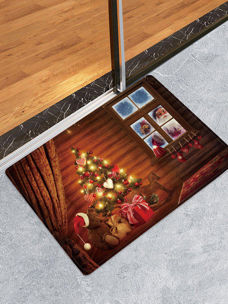 Affordable Christmas Tree House Pattern Anti-skid Water Absorption Area Rug