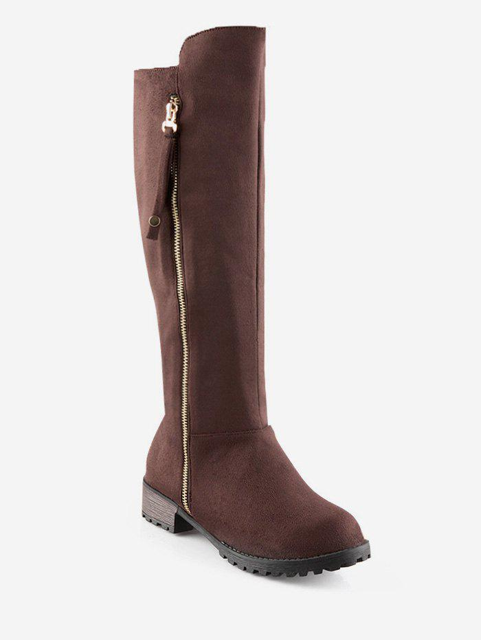 Shops Plus Size Side Zip Suede Knee High Boots