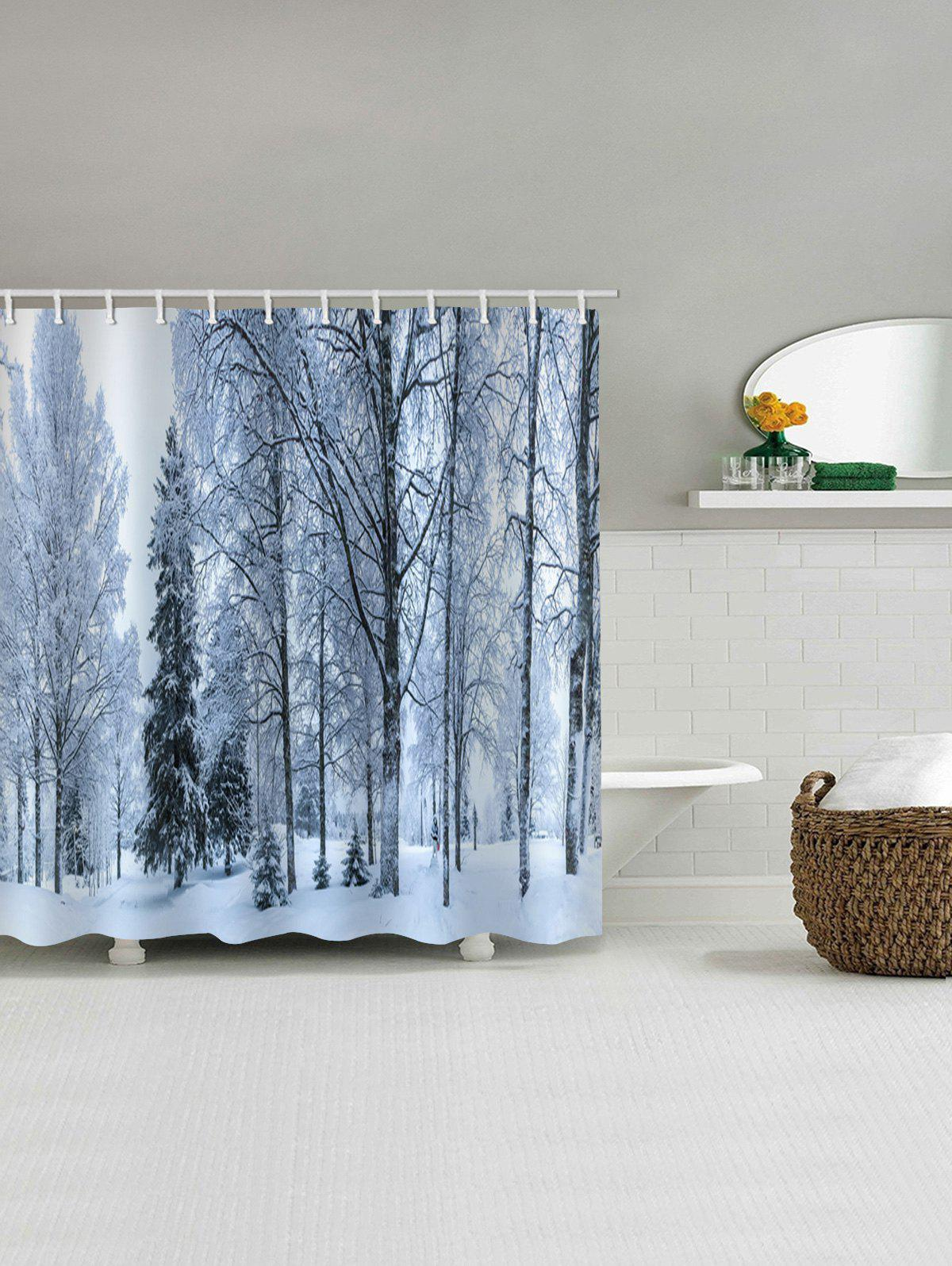 Affordable Christmas Snowscape Pattern Bathroom Shower Curtain