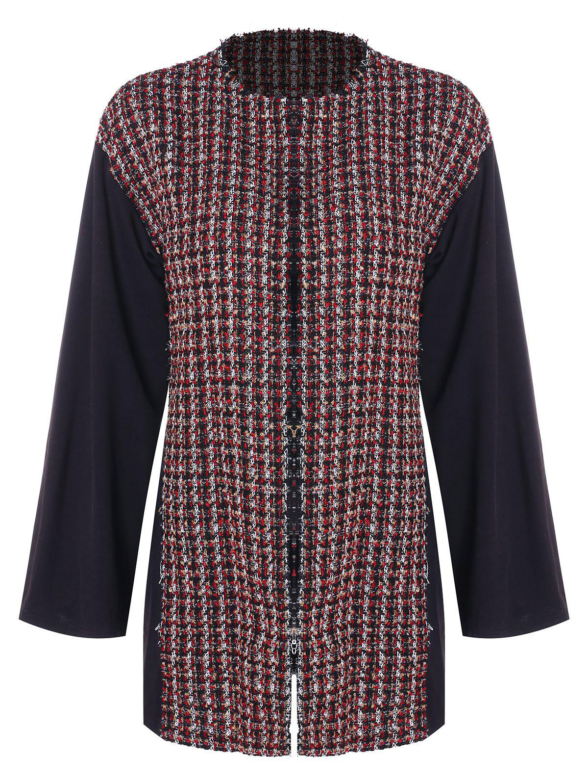 Affordable Round Collar Woven Panel Coat