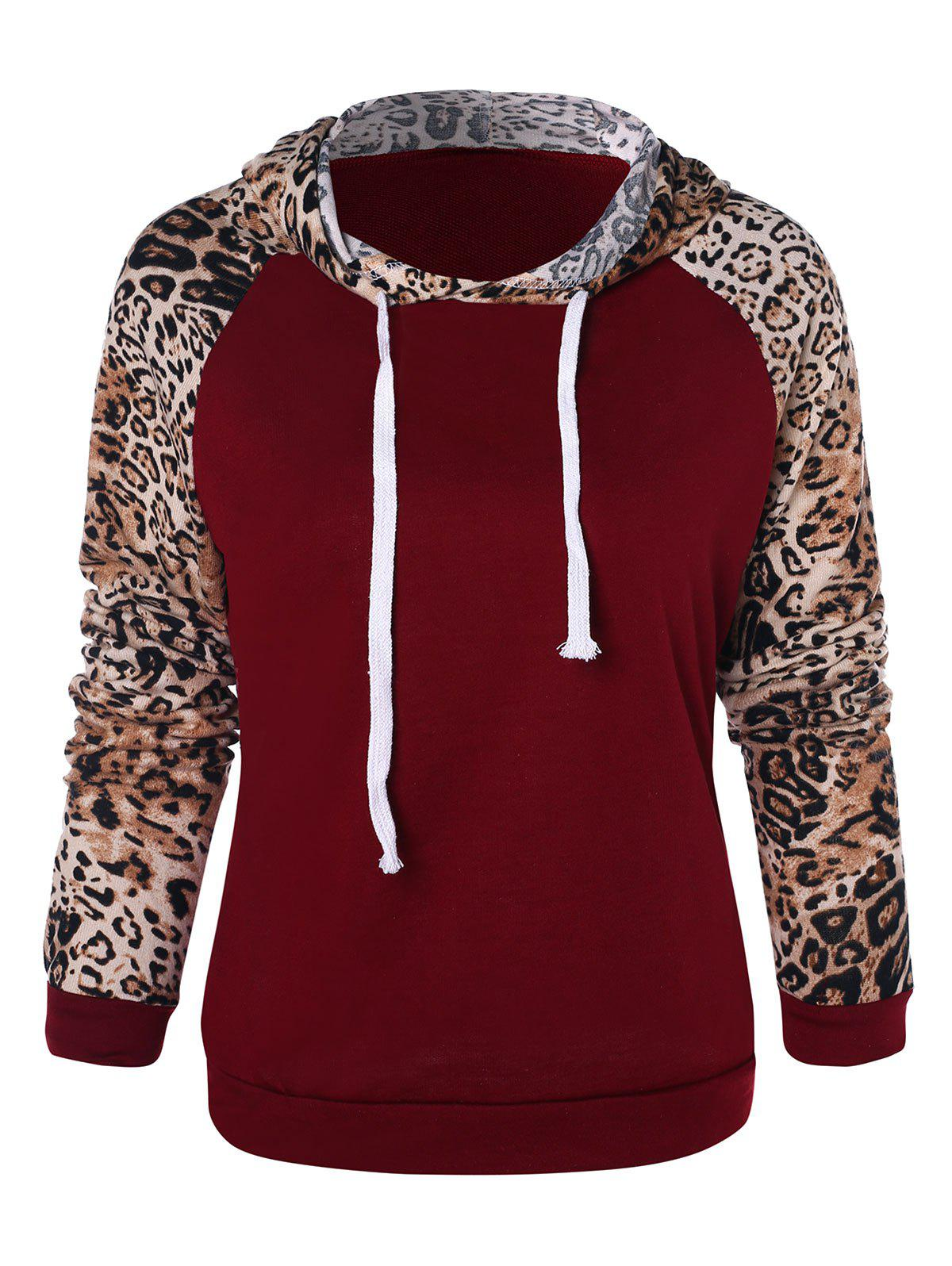 Outfits Leopard Print Drawstring Hoodie