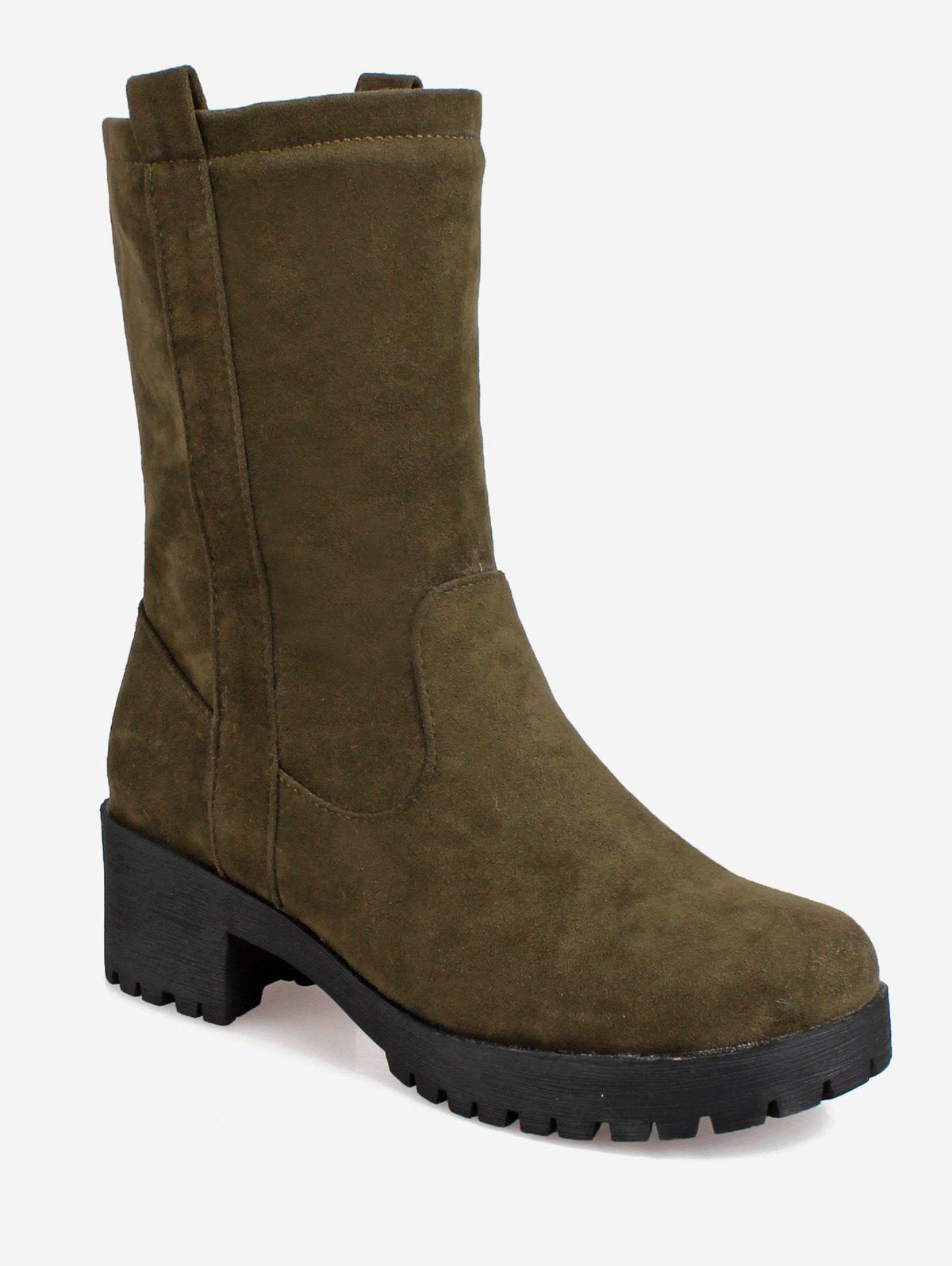 Unique Plus Size Suede Mid Calf Boots