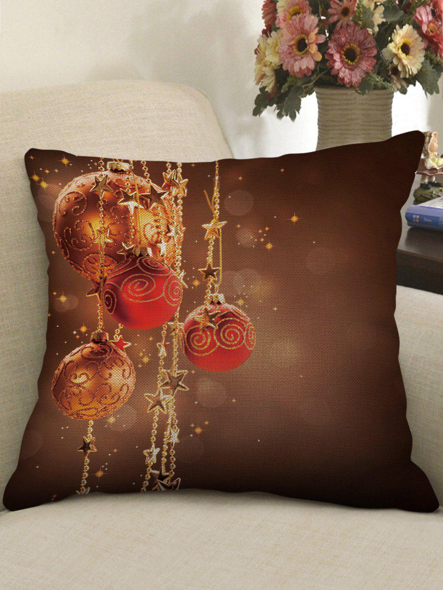 Hot Christmas Ball Stars Print Decorative Sofa Pillowcase