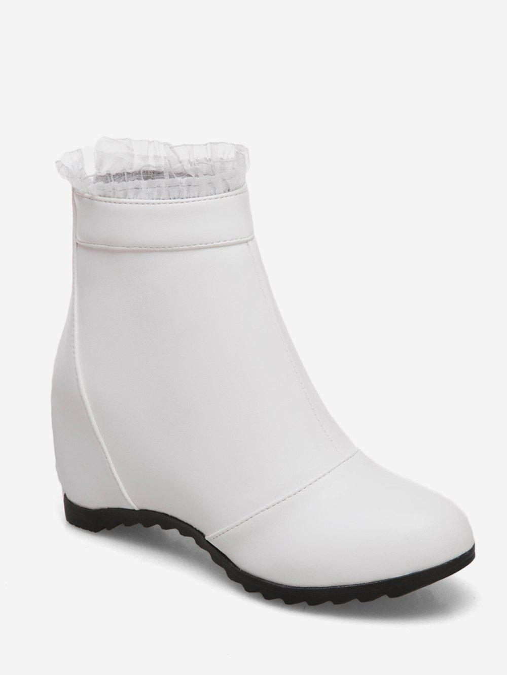 Affordable Plus Size Increased Internal Flounced Ankle Boots