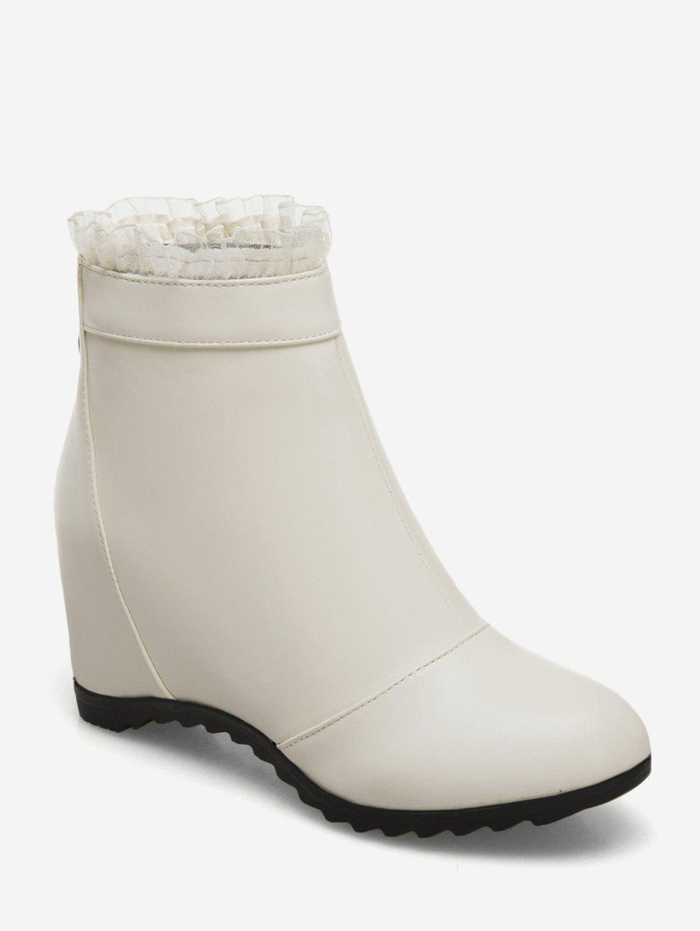 Online Plus Size Increased Internal Flounced Ankle Boots
