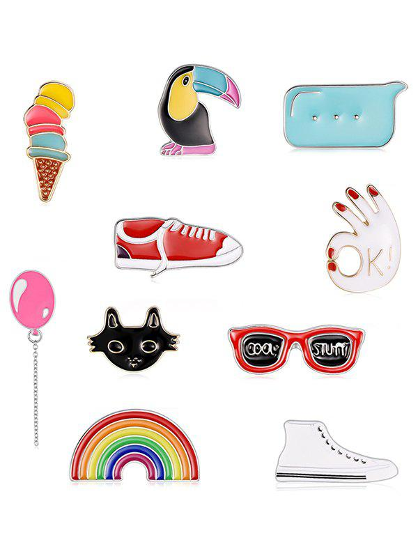 Discount Shoes Animals Glasses Ice Cream Design Brooch Set