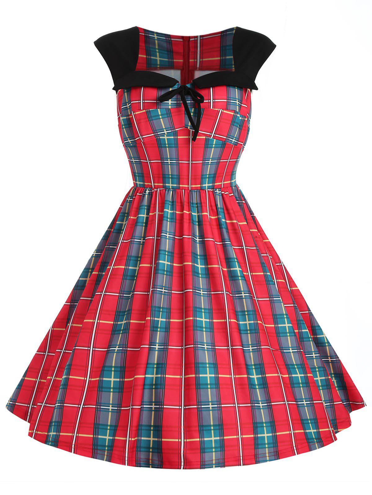 Shop Sweetheart Neck Plus Size Tartan Fit and Flare Dress