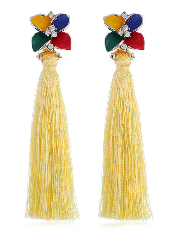 Fancy Vintage Rhinestone Floral Long Tassel Drop Earrings