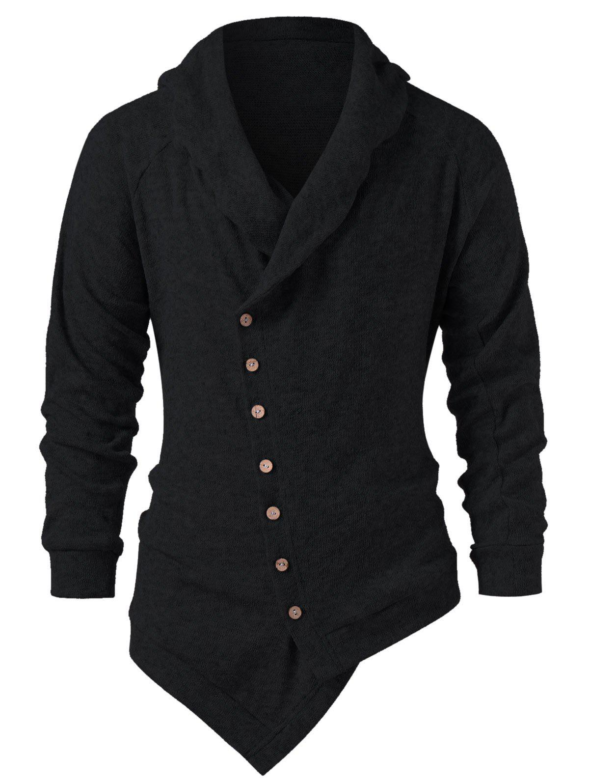 Discount Asymmetric Button Up Solid Color Cardigan