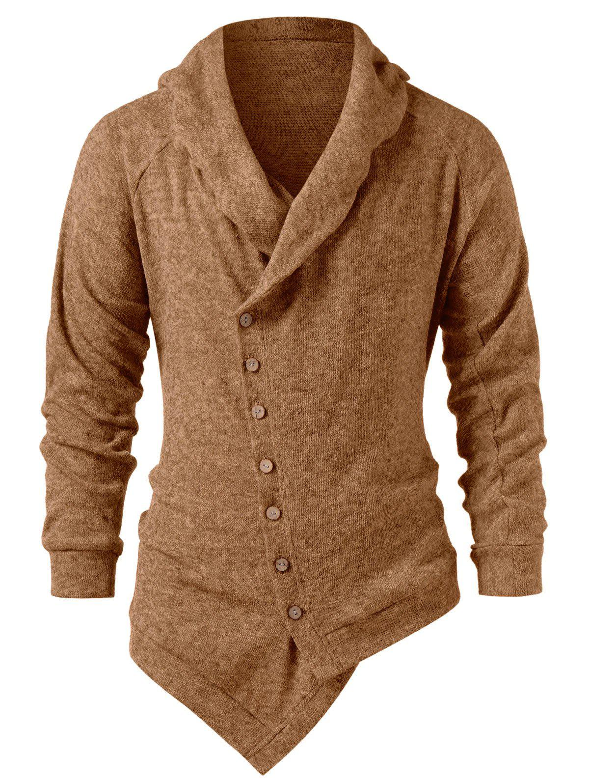 Fashion Asymmetric Button Up Solid Color Cardigan