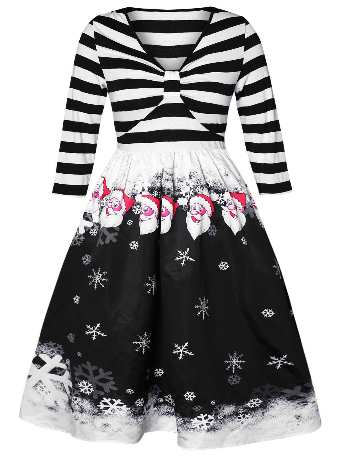 Affordable Plus Size Vintage Snowflake Stripes Christmas Flare Dress