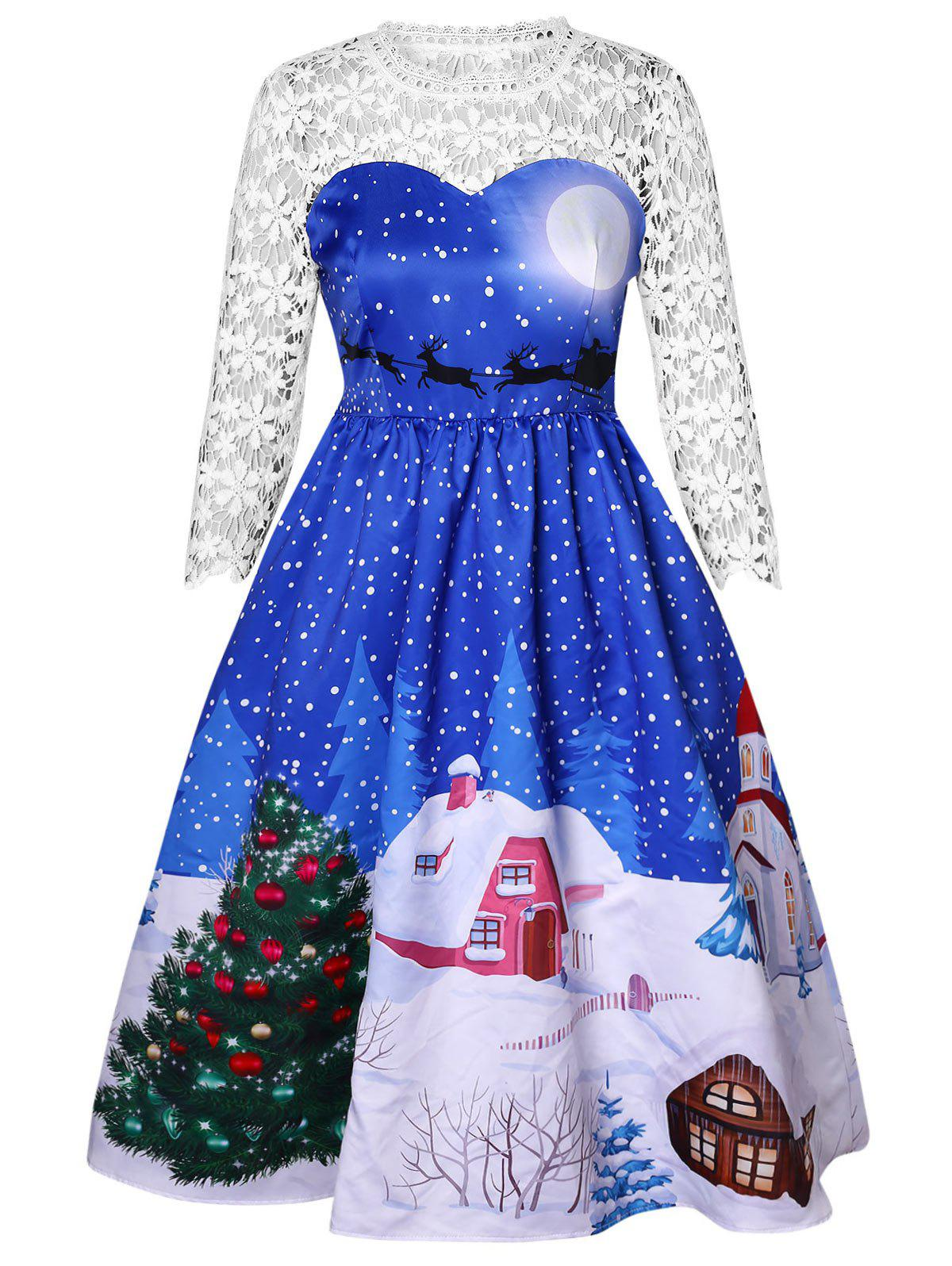 Christmas Ball Gowns Plus Size.Plus Size Christmas Tree Print Lace Sleeve Ballgown Dress
