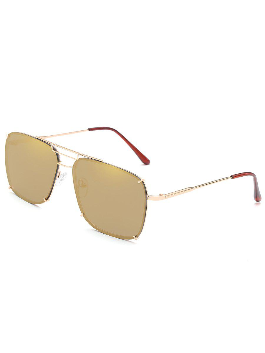 Latest Statement Crossbar Metal Frame Oversized Sunglasses
