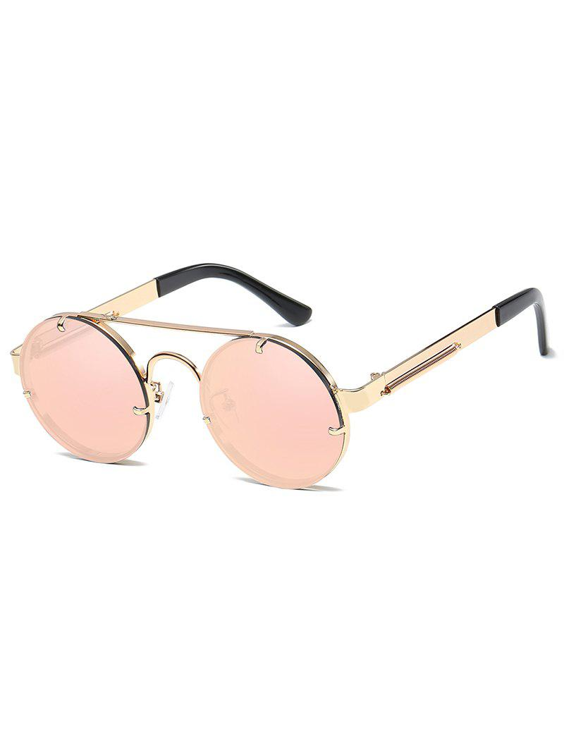 Fashion Vintage  Metal Frame Flat Lens Crossbar Rounded Sunglasses