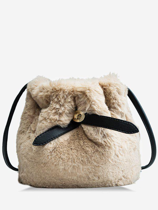 Outfit Faux Fur Solid Bucket Bag