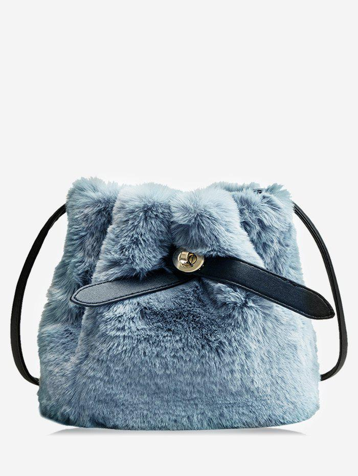 Online Faux Fur Solid Bucket Bag