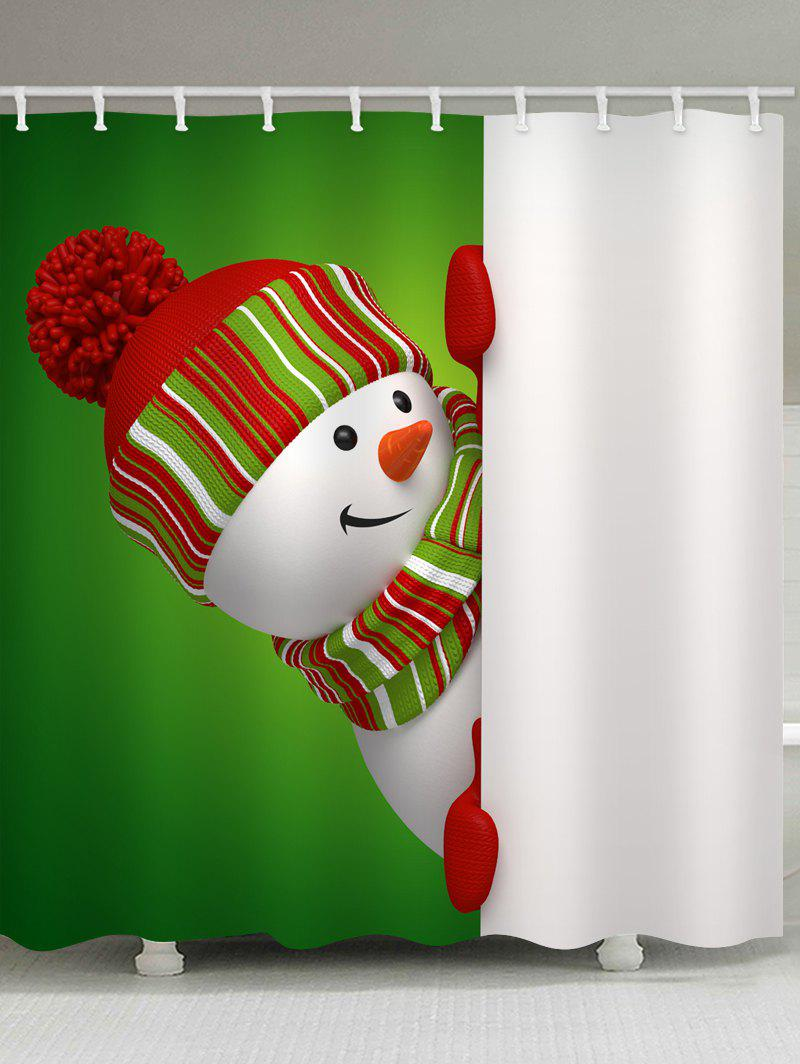 Chic Christmas Theme Snowman Pattern Waterproof Shower Curtain