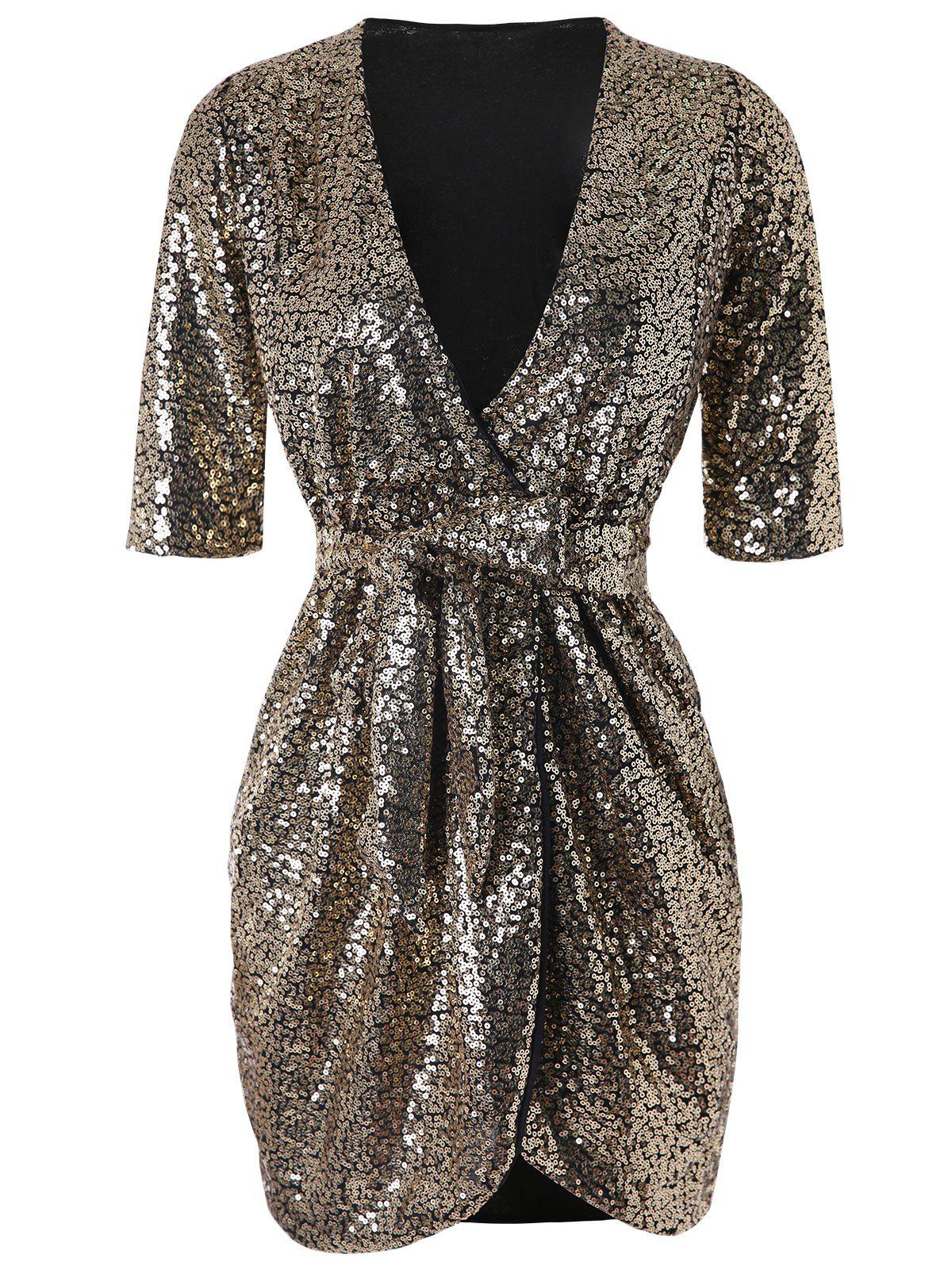 Latest Belted Sequined Bodycon Dress
