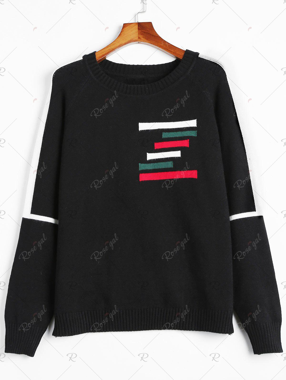Shop Plus Size Raglan Sleeve Striped Sweater