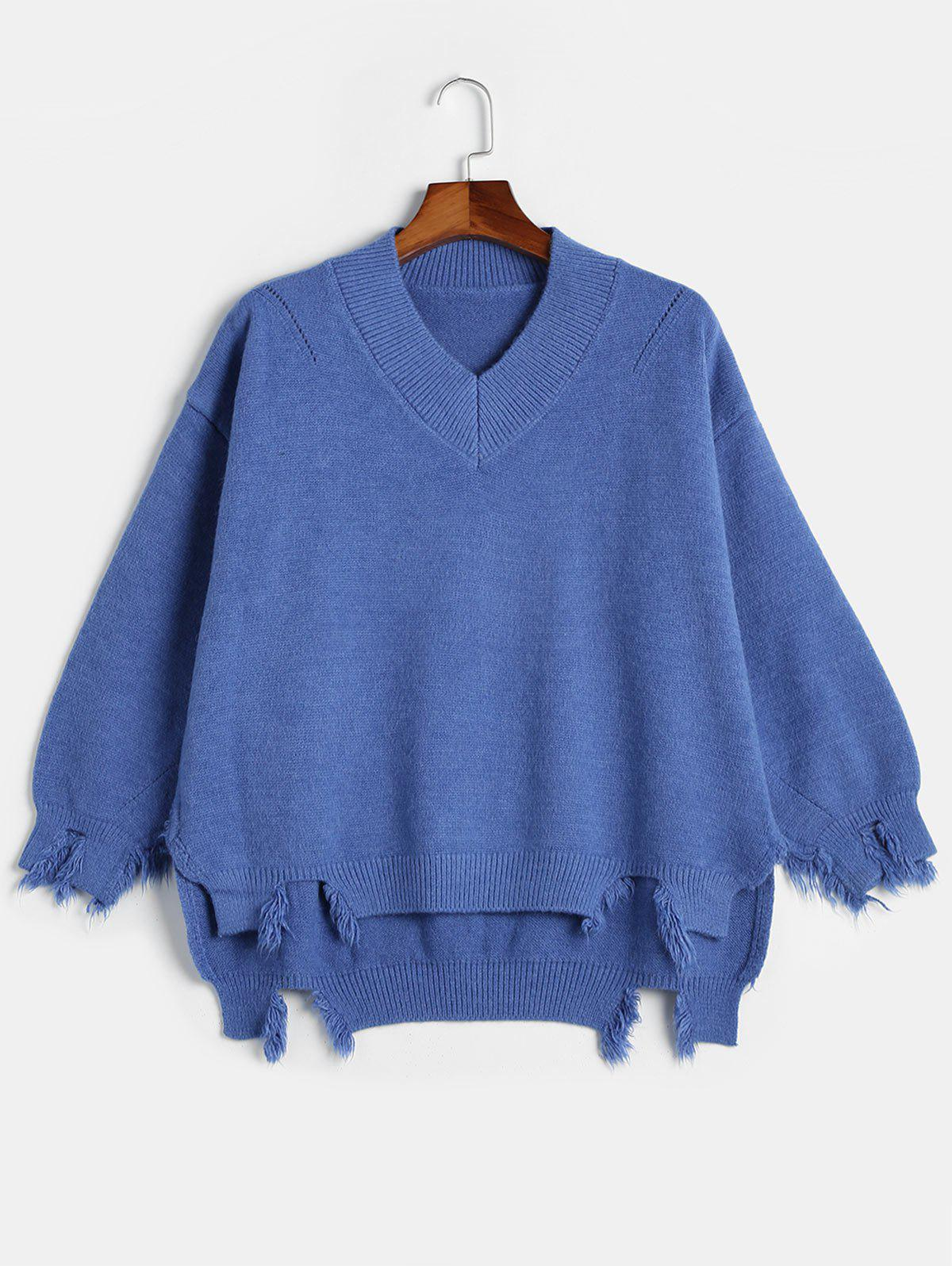 Chic Plus Size High Low Frayed Sweater