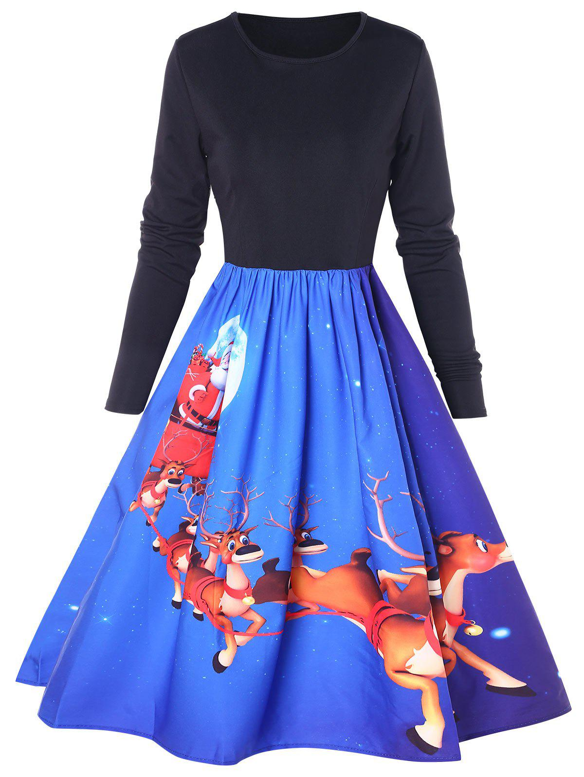 Outfit Christmas Elk Print Flared Dress