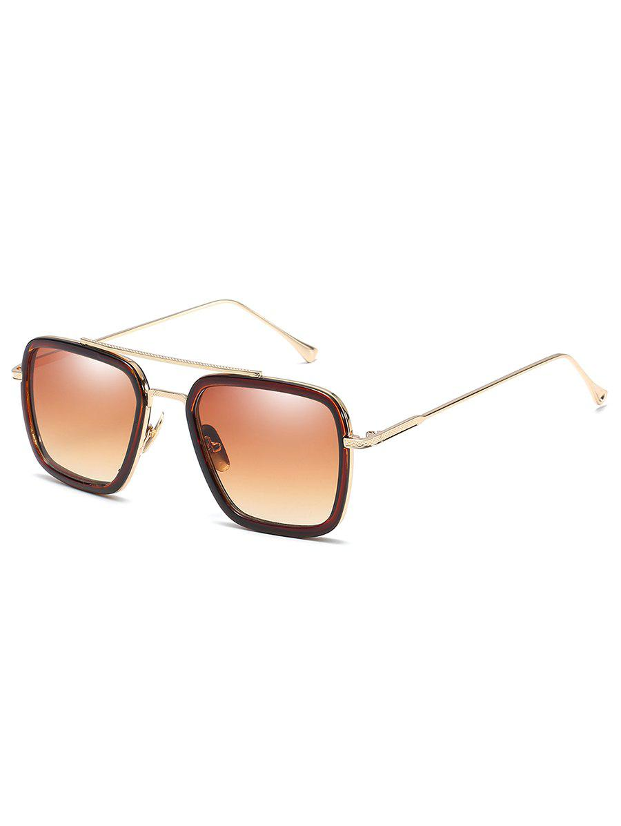 Store Statement Metal Frame Crossbar Squared Sunglasses
