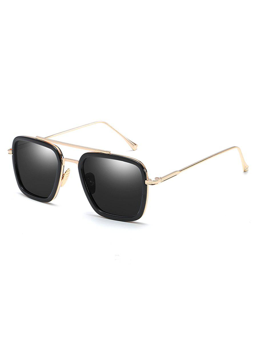 Cheap Statement Metal Frame Crossbar Squared Sunglasses
