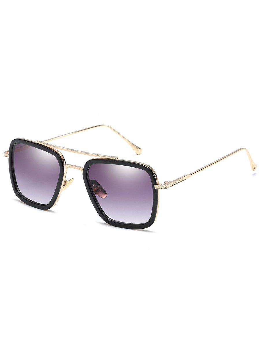 Outfits Statement Metal Frame Crossbar Squared Sunglasses