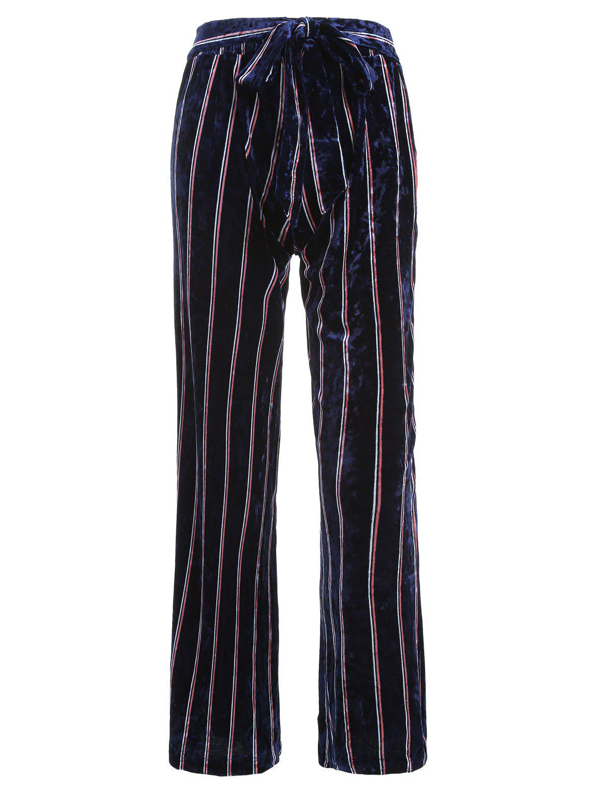 Buy Striped Wide Leg Velvet Pants