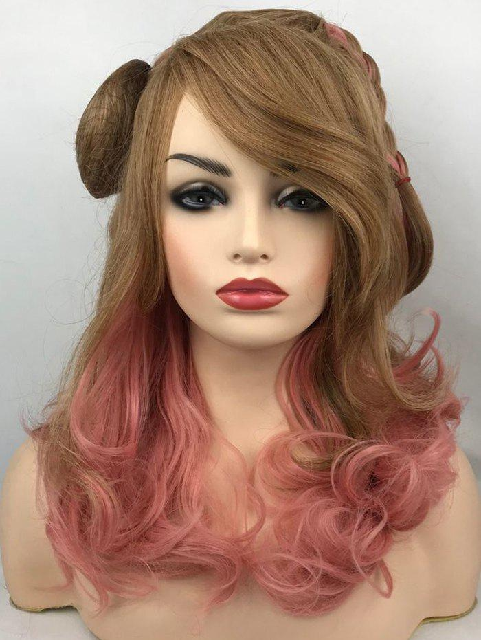 New Long Inclined Bang Colormix Braid Wavy Party Synthetic Wig
